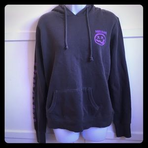 Sweaters - Nirvana Gray and Purple Hoodie, Size M
